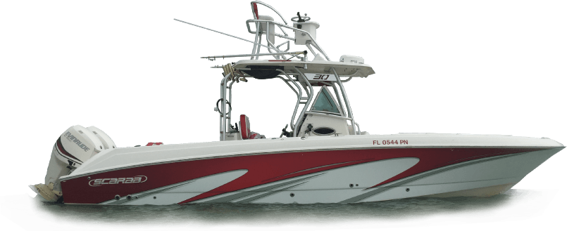 Red and white boat wrap image